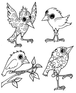 Mini Whimsical Birds 1