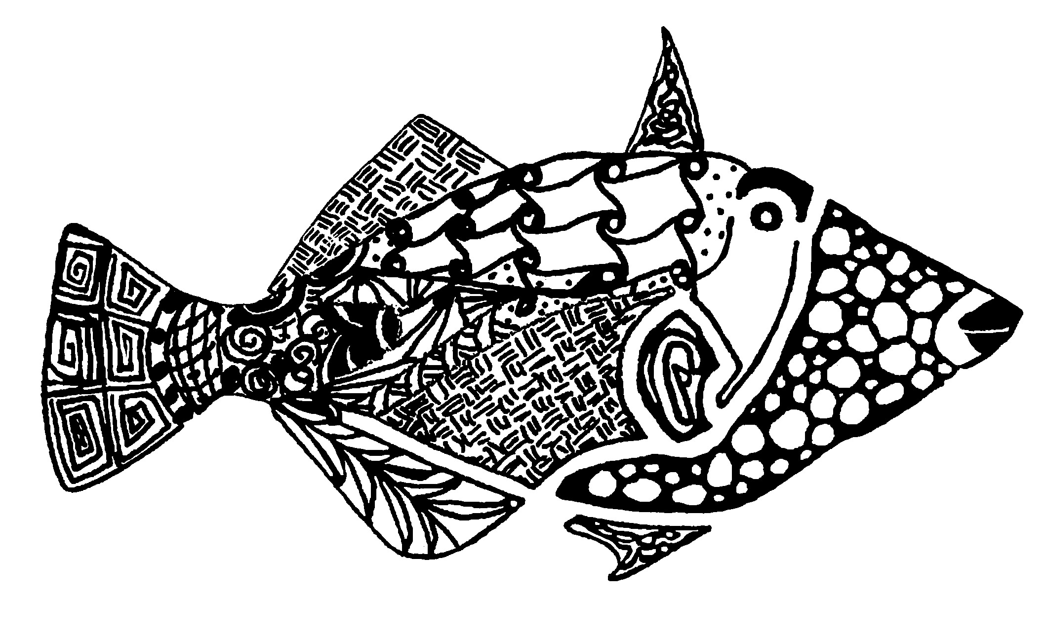 Zentangle Checker Fish